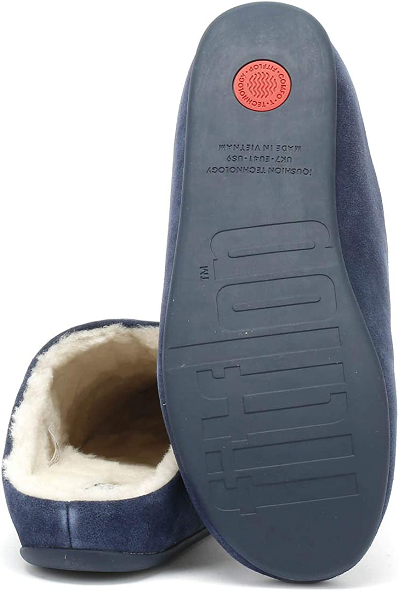Fitflop Chrissie Shearling, Pantofole Donna Blue Midnight Navy 399
