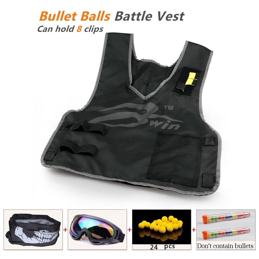 Ennrui Kids Tactical Vest Jacket Kit For Apollo Zeus Atlas ball gun (comes with Seamless Skull Face Mask + Windproof Protective Goggles + 2pcs Ball bullet clip+ 24pcs Yellow ball bullet)