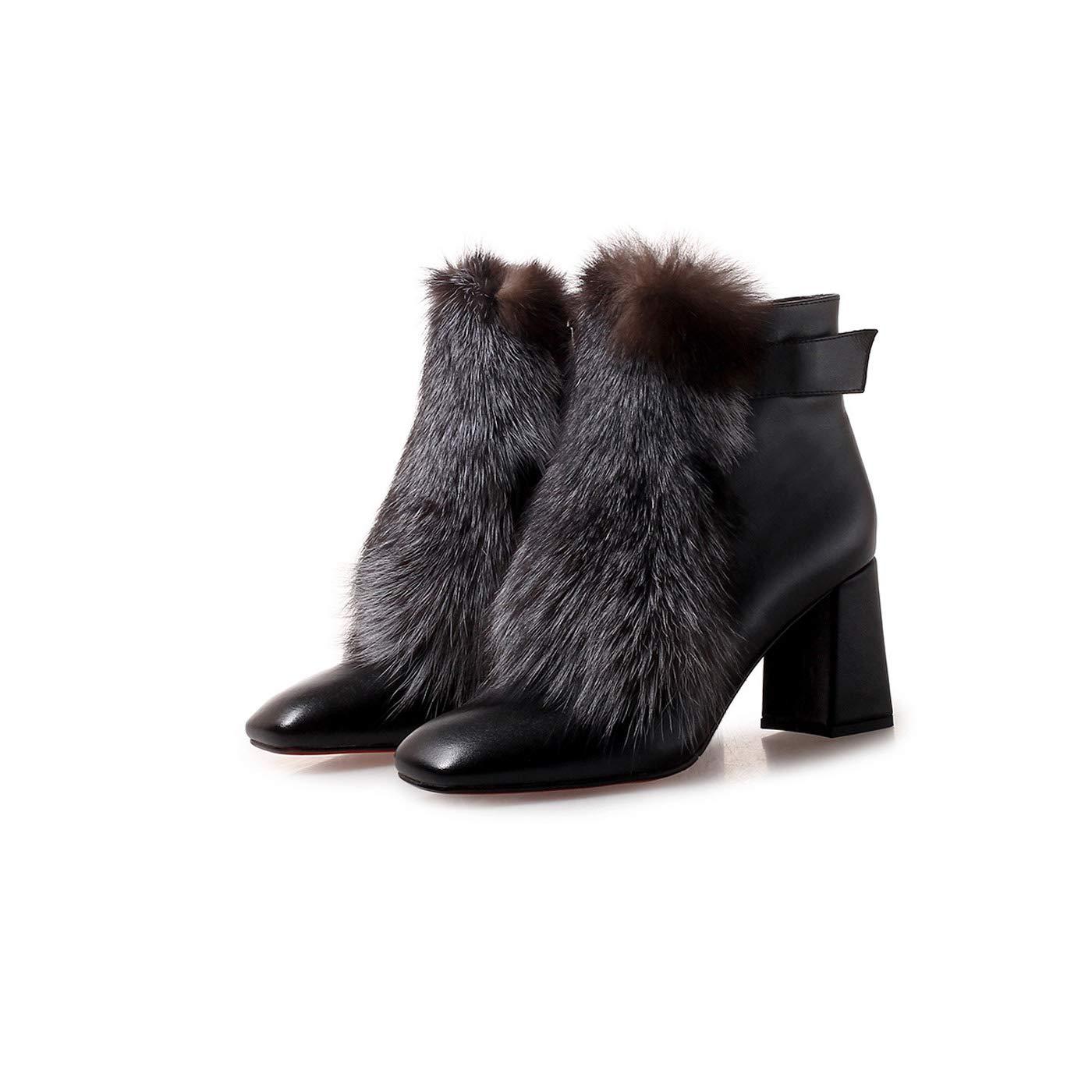 DANDANJIE Damen Stiefel mit Reißverschluss Block Heel Schuhe Fashion Ankle Stiefelies für 2018 Herbst & Winter
