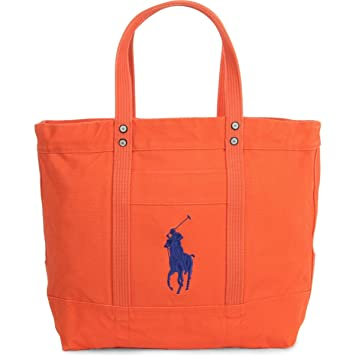 e58c87221b9d Amazon.com  Polo Ralph Lauren Cotton Canvas Big Pony Zip Tote Bag (One  size