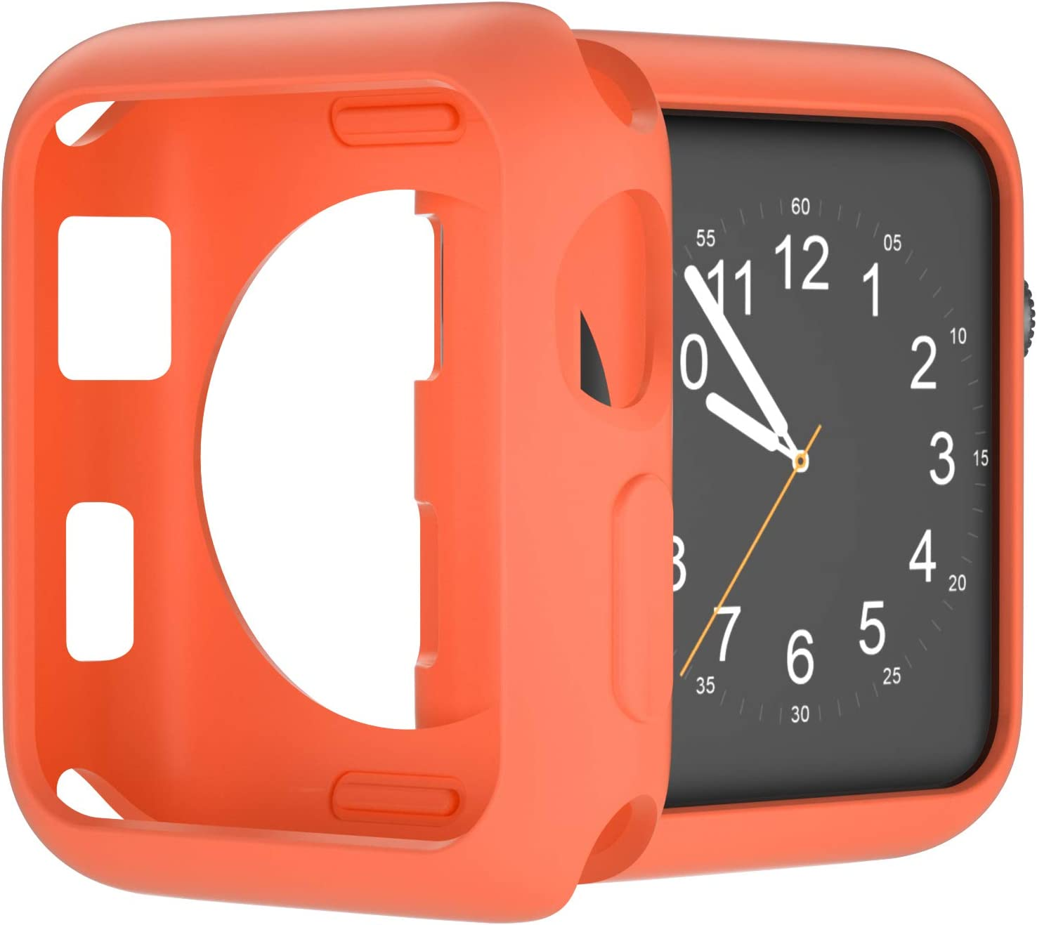U191U Compatible with Apple Watch Case 38mm 42mm 40mm 44mm, Soft TPU Shockproof and Shatter-Resistant Protective Bumper Cover iwatch Series 5 4 3 2 Case (Orange, 38mm Series 2/3)
