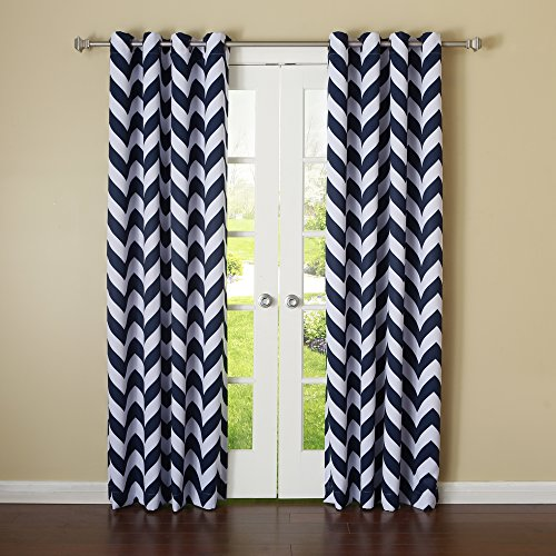 Best Home Fashion Room Darkening Blackout Chevron Print Curtains - Antique Bronze Grommet Top - Navy - 52