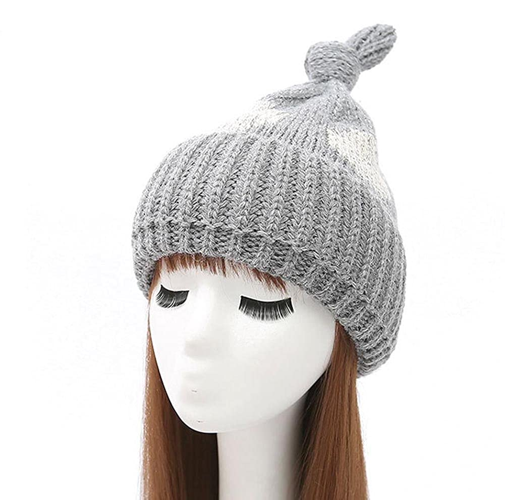 0987894ae24 BIBITIME Women Winter sharp Knot Top Beanie Knitted Hat Polka dot Warmer Cap  (One Size for Adult