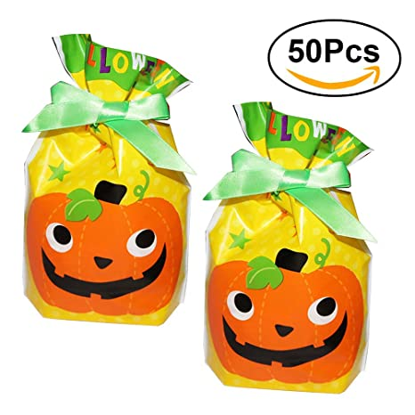 BESTOMZ 50pcs bolsas de dulces Halloween (calabaza): Amazon ...