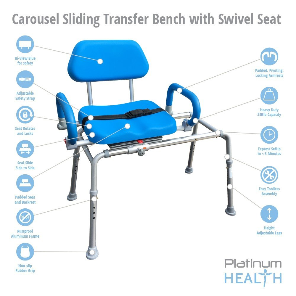 Carousel Sliding Transfer Bench with Swivel Seat. Premium PADDED Bath and Shower Chair with Pivoting Arms. Space Saving Design. NEW for 2017. by Platinum Health (Image #4)