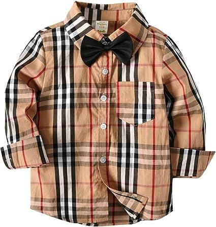 ARAUS Camisa de Cuadros de Manga Larga para Niños Camisa de Primavera y Otoño 1-7 años: Amazon.es: Ropa y accesorios