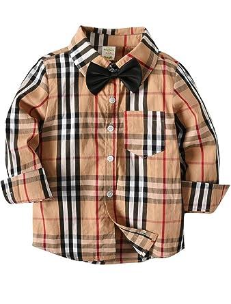 mode designer 6157e 0404c ARAUS Bébé Garçons Chemise à Manches Longues à Carreaux Costume Enfants 1-7  Ans