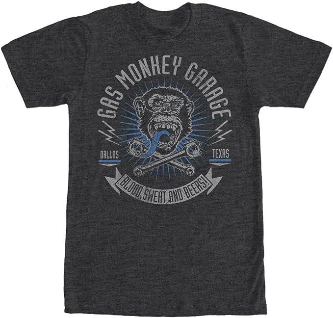 GAS MONKEY GARAGE Hot Rod car Mechanic beer Chimp DALLAS Texas MEN/'S New T-Shirt