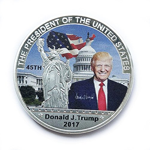 (45th President Donald Trump Commemorative Coin Challenge Coins Novelty Coin Silver Color)