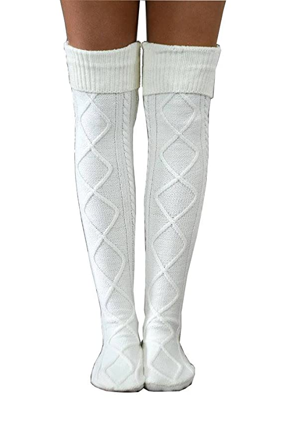 1940s Stockings: Hosiery, Nylons, and Socks History Boot Cuff Socks Womens Diamond Cable Knit Boot Socks $24.00 AT vintagedancer.com