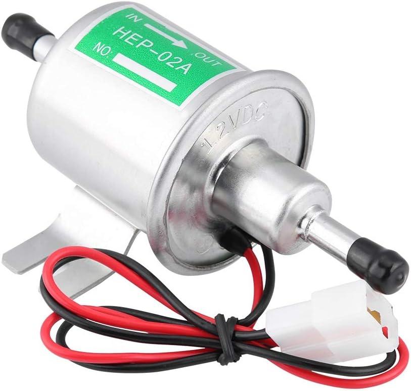 KIMISS 12V universal Bomba de combustible eléctrica de gasolina [Aleación de aluminio] Generadores de gas y diesel HEP-02A