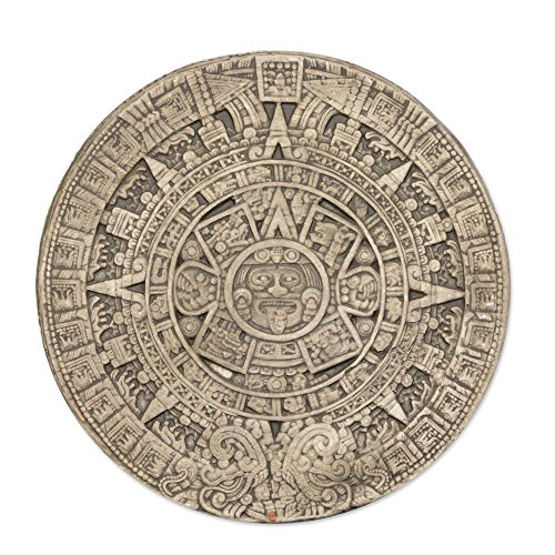 NOVICA Archaeological Advent Calendar Ceramic Plaque, Grey, Small Beige Aztec Calendar'