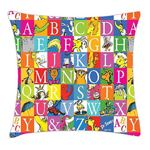 HFYZT Dr. Seuss's ABC Colorful Block Letter Pattern Pillow Case Pillowcase Cushion Shell 18