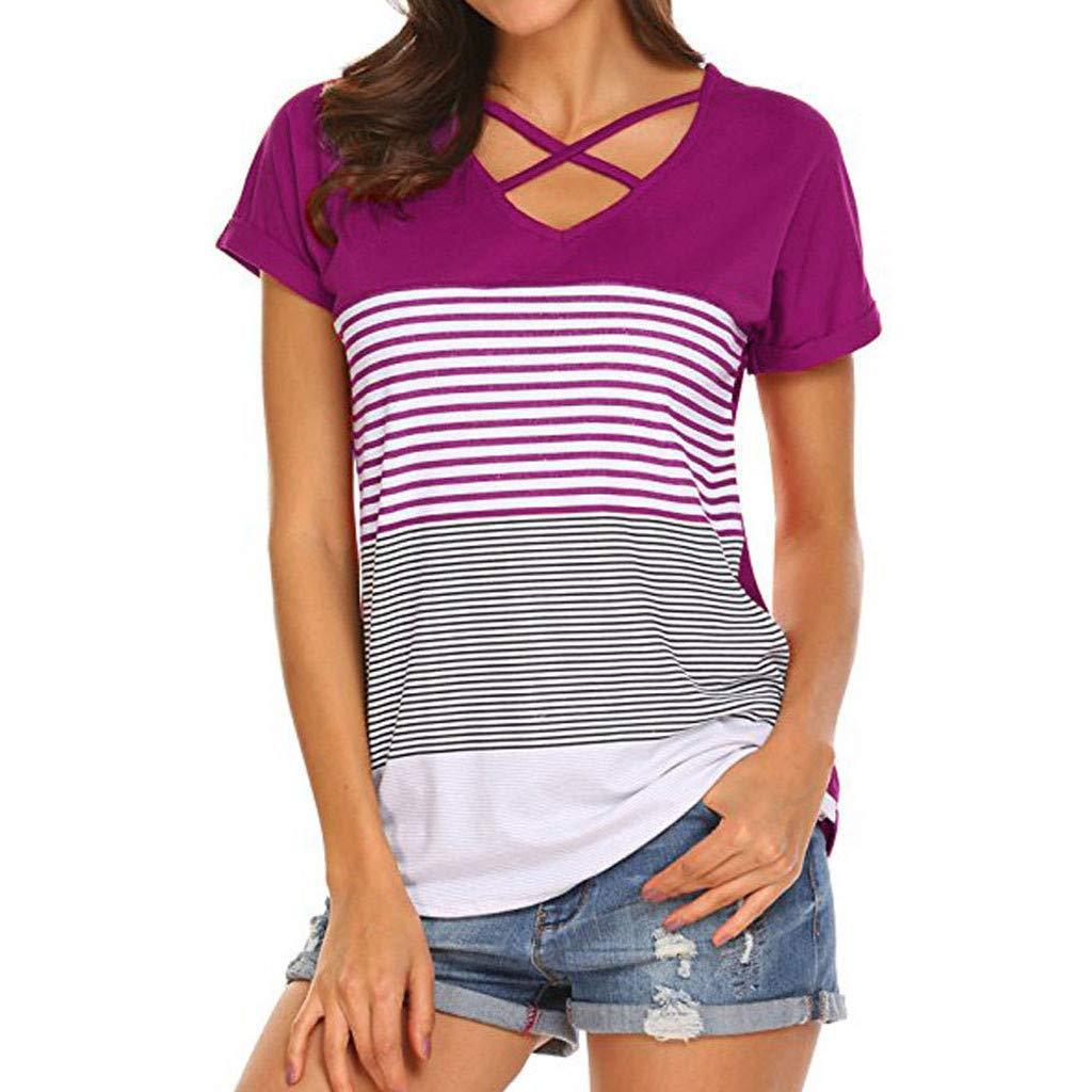Blouse for Women Criss Cross Loose Fits V Neck Short Sleeve Summer T Shirts Triple Color Block Stripe Basic Tee Shirt