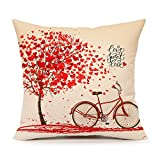 #7: Red Tree and Love Bicycle Throw Pillow Case Cushion Cover Cotton Linen 18 x 18 Inch Valentine's Day Home Decoration(Sweet Heart)