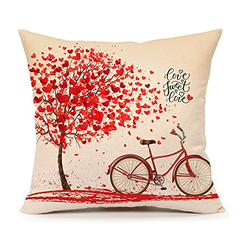 4TH Emotion Valentine's Day Throw Pillow Case Cushion Cover Cotton Linen 18 x 18 Inch Red Tree and Love Bicycle Home Decoration(Sweet Heart)