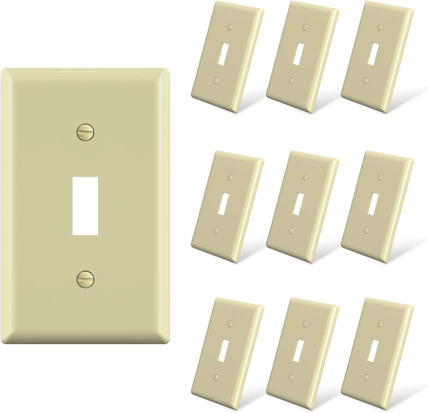 Elegrp Toggle Light Switch Wall Plate 1 Gang Standard Size Switch Covers Unbreakable Polycarbonate Replacement Faceplates Covers Ul Listed Color Matched Screws Included 10 Pack Glossy Ivory Amazon Com