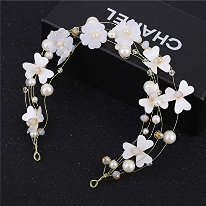 Lurrose Un Arete de Pelo,un Traje de Flores Blancas,Perlas ...