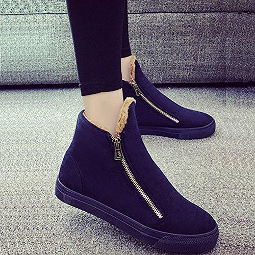 Azul Invierno Botines Gamuza Zapatos Nieve con marino Calor Fondo Cremallera de Largeshop Plano Mujer Botas Mujer Revestimiento Chica BAfwqxxSa
