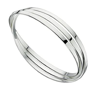 Elements Silver Women's 925 Sterling Silver Triple Russian Wedding Bangle of Flat Bands 9qH5iNDfn