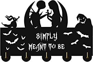 The Nightmare Before Christmas Hooks-Jack Skellington Decor Wall Hooks,Wall Décor,Coat Hooks,Key Holder for Wall、Entryway and Kitchen-11.8×7.8Inch、 Black 、Eco-Wood