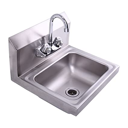 LAZYMOON Commercial Stainless Steel Wall Mounted NSF Hand Sink W/ Faucet  17u0026quot; X 15u0026quot