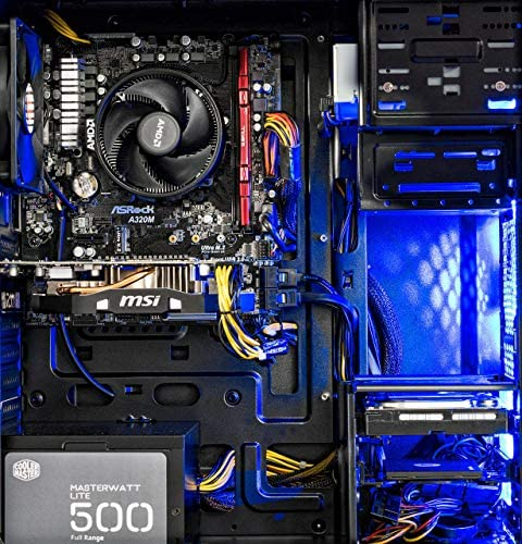 [Ryzen & GTX 1060 Edition] SkyTech Shadow Gaming Computer Desktop PC Ryzen 1200 3.1GHz Quad-Core, GTX 1060 3GB, 8GB DDR4 2400, 1TB HDD, 24X DVD, Wi-Fi USB, Windows 10 Home 64-bit (Renewed)