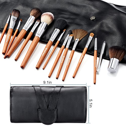 15 Pcs Professional Makeup Brush Set Foundation Contour Blending Eyeshadow Concealer brush Blush Brush Leather Case