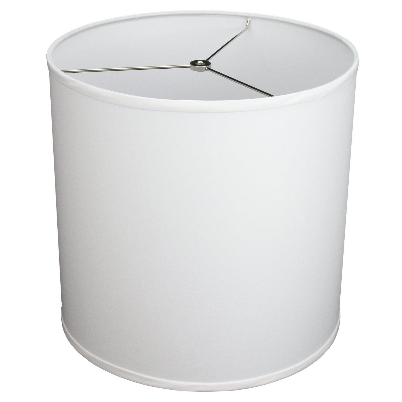 FenchelShades.com 14'' Top Diameter x 14'' Bottom Diameter 14'' Height Cylinder Drum Lampshade USA Made (White)