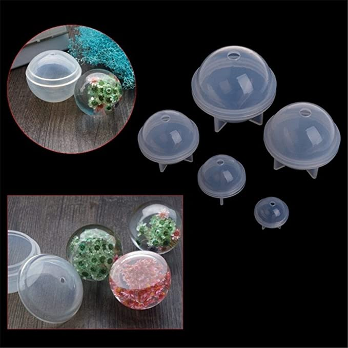 Silicone Mold Epoxy Resin Orb Globe Ball Sphere Beads Jewel DIY Making T2E4