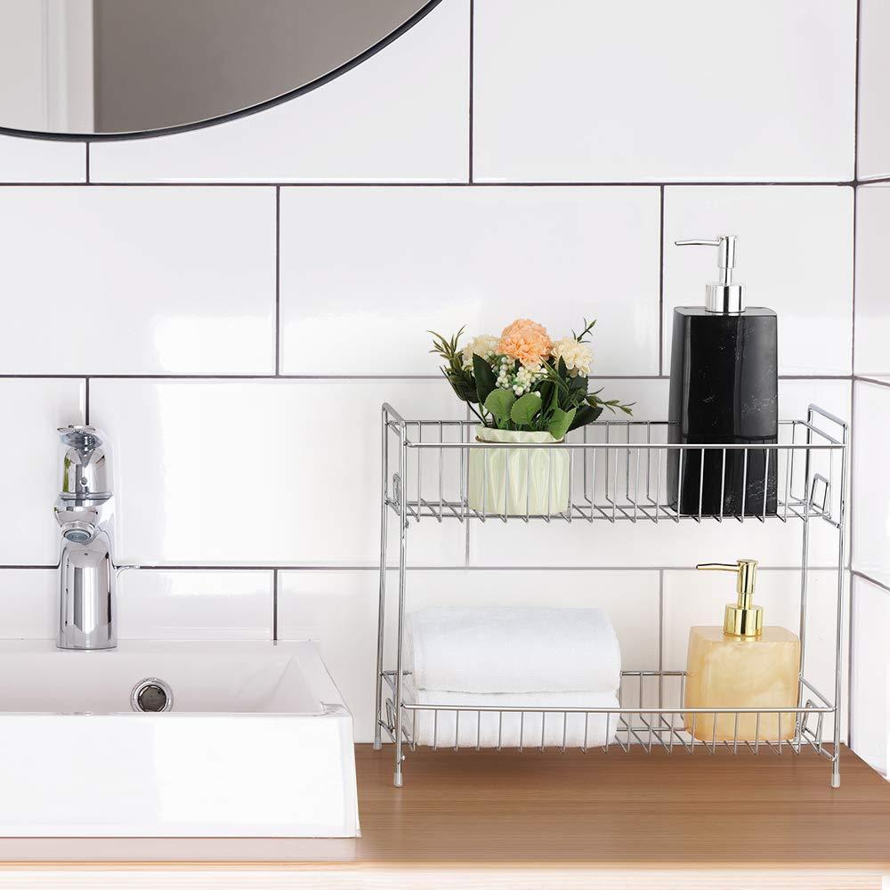 Brown 2-Tier Standing Rack Shelf Holder Spice Rack Countertop Storage Organizer for Kitchen Bathroom Office