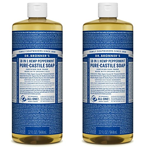 Dr. Bronner's - Pure-Castile Liquid Soap (Peppermint, 32 ounce, 2-Pack) - Made with Organic Oils, 18-in-1 Uses: Face, Body, Hair