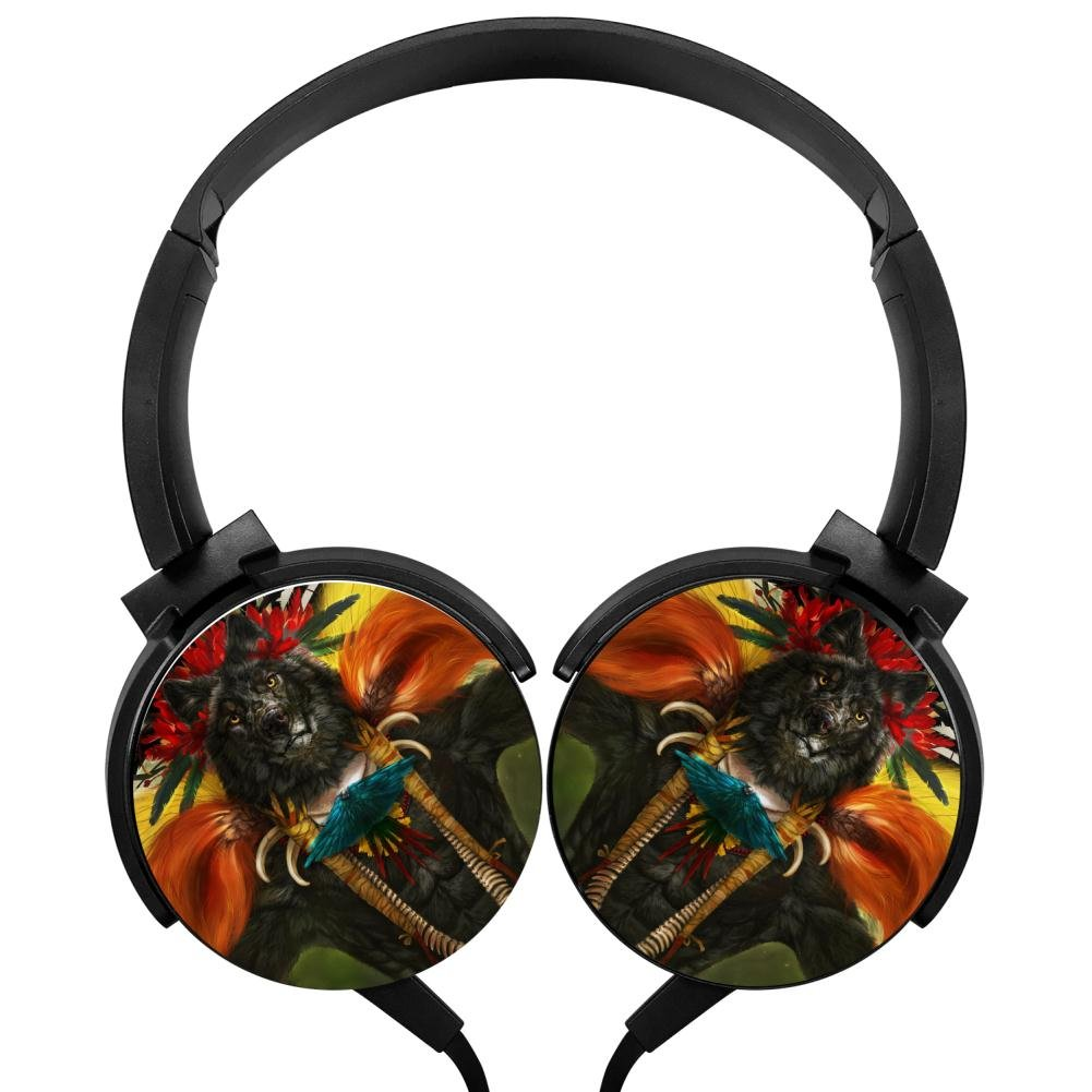 Bird Of Paradise Stereo Headphones Lightweight With Mic Over Ear, Fashion Headsets For Iphone, Ipad, Smartphone And Tv 3.5Mm Black