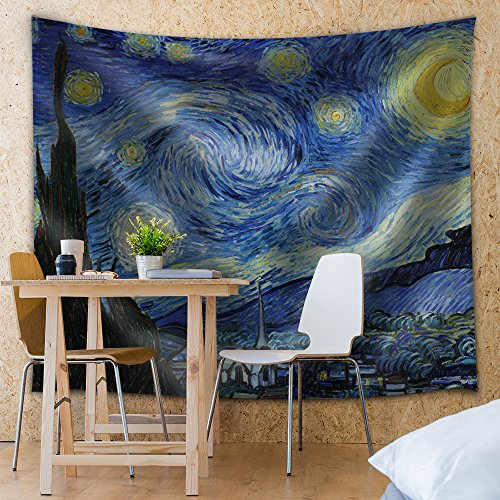 Wall26 - Starry Night by Vincent van Gogh - Fabric Tapestry, Home Decor - 51x60 inches