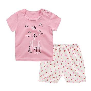 Shiningup Conjunto de pijamas de verano de bebé Camiseta de manga corta de dibujos animados Top