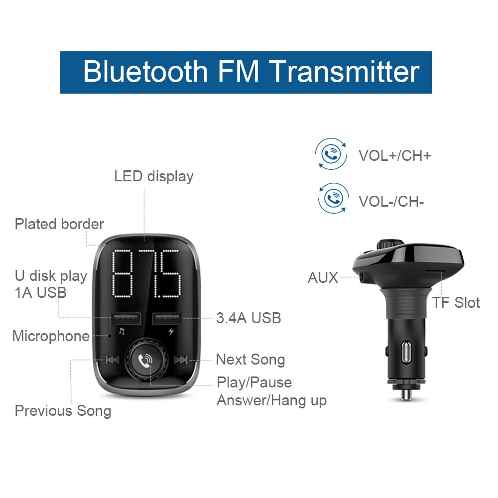 QLGRDEBT20 Wireless in-Car Bluetooth Receiver Hands-Free Car Charger with Dual USB Ports GRDE Bluetooth Car Adapter Silver Bluetooth FM Transmitter