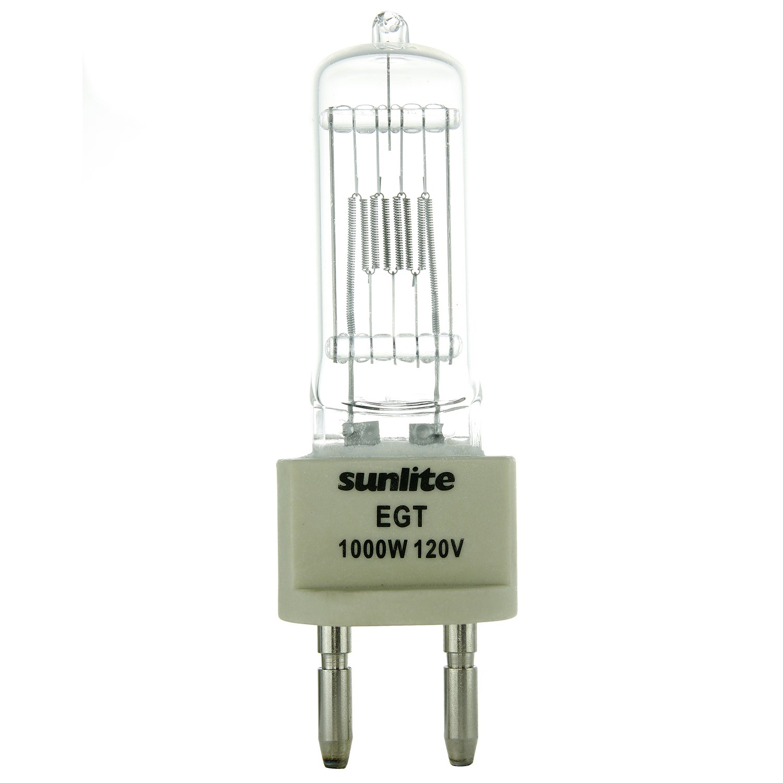 Sunlite EGT 1000W//T7//120V//CL//G22 1000-watt 120-volt Bi-Pin Based Stage and Studio T7 Bulb Clear Sunshine Lighting