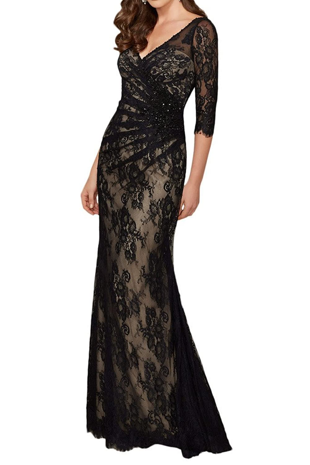Prommay Lace V-Neck Mother of the Bride Dress with Half Sleeves