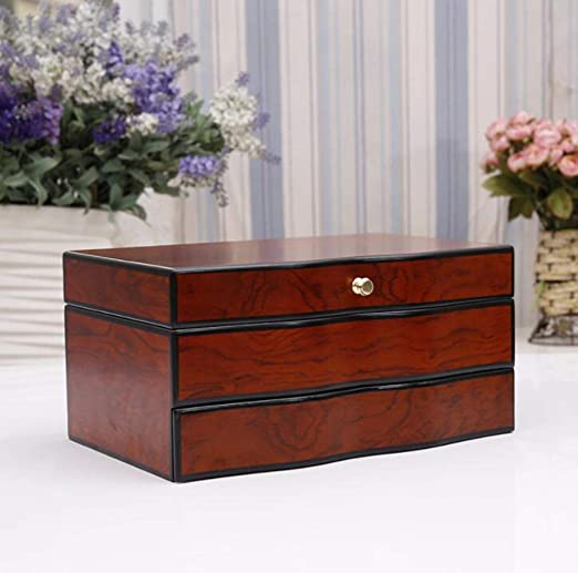 Amazon.com: YZ-YUAN Jewelry Storage Jewellery Box Solid Wood High-End Vintage Style Display Case, 3 Layers with Mirror for Earrings Necklace Jewels ...