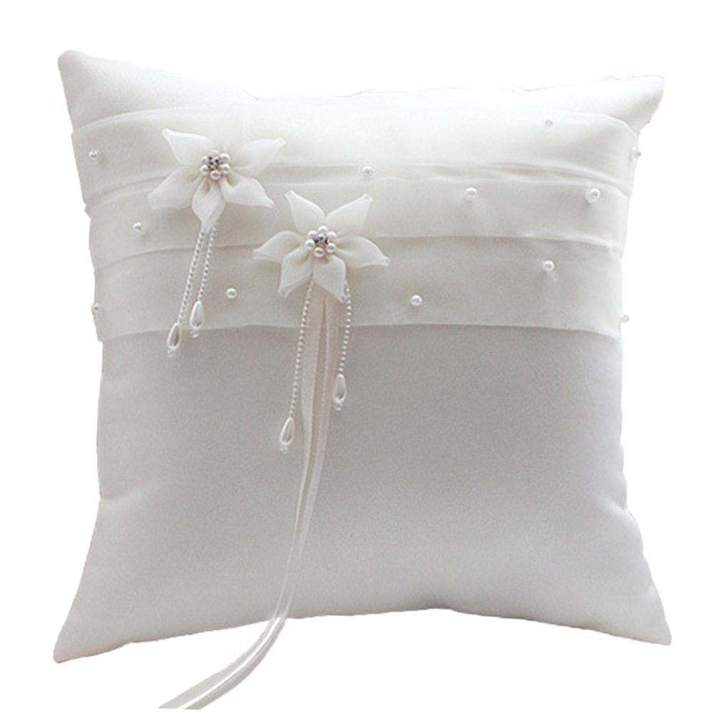 BessWedding Beach Wedding Bearer Pearl Flower Wedding Party Ring Pillow 003A