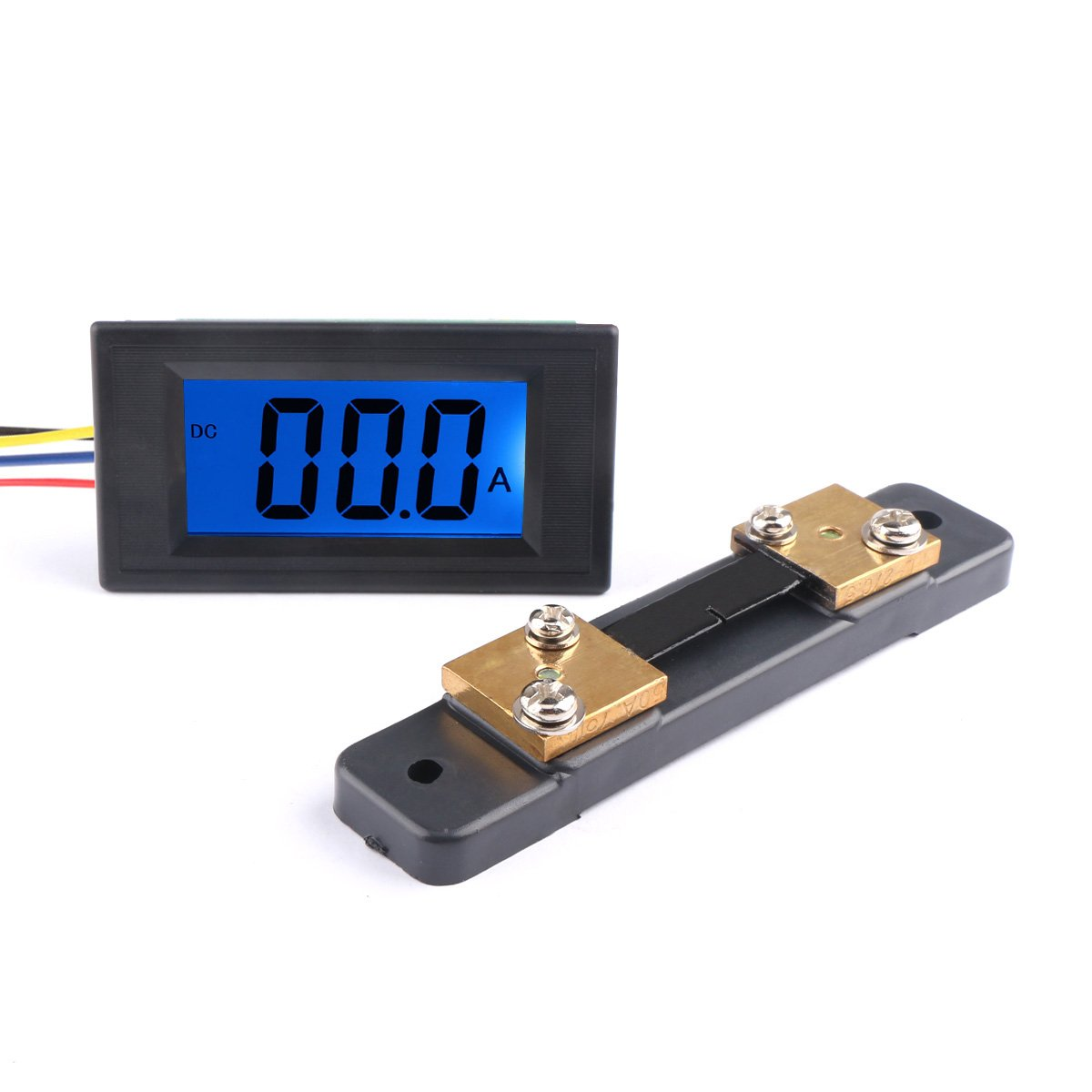 DROK Digital DC 12V Ammeter Panel Amp Meter Gauge DC 0-+/-50A Current Tester AC/DC 8-12V Current Monitor with Blue Back-light Black Font for Automotive Vehicle 300114