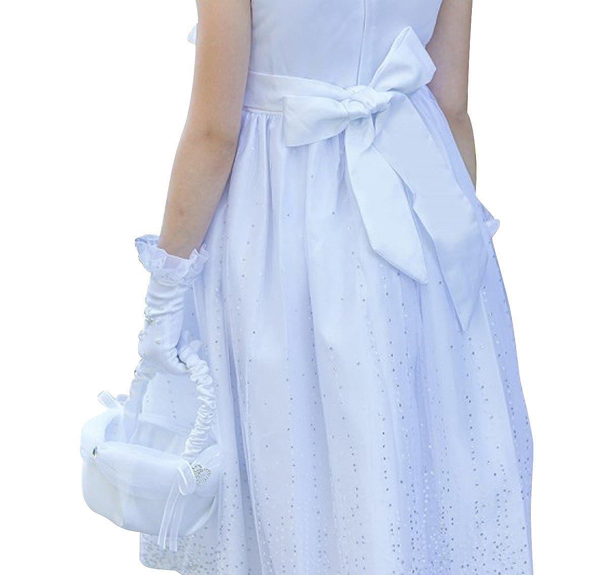 d03c0262cdffd0 Kleider BIMARO Mädchen Kleid Laguna weiß mit Glitzer Tüll Satin Blüte  Festlich Festkleid Hochzeit Blumenmädchen Kommunion