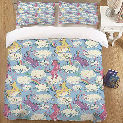 Young people's Bedding Duvet Cover Set,QUEEN Size,3 Piece (1 Duvet Cover + 2 Pillow Shams)for Bedroom Rainbow Cute Unicorns on the Sky with Rainbows Pouring from Cloud to Cloud Girls Print Decorative