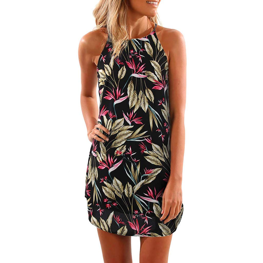 Soupliebe Sommerkleid Damen Kleid Strandkleid Ärmellos Rückenfrei Frauen Neckholder Blumendruck Beiläufiges Knielang Partykleid