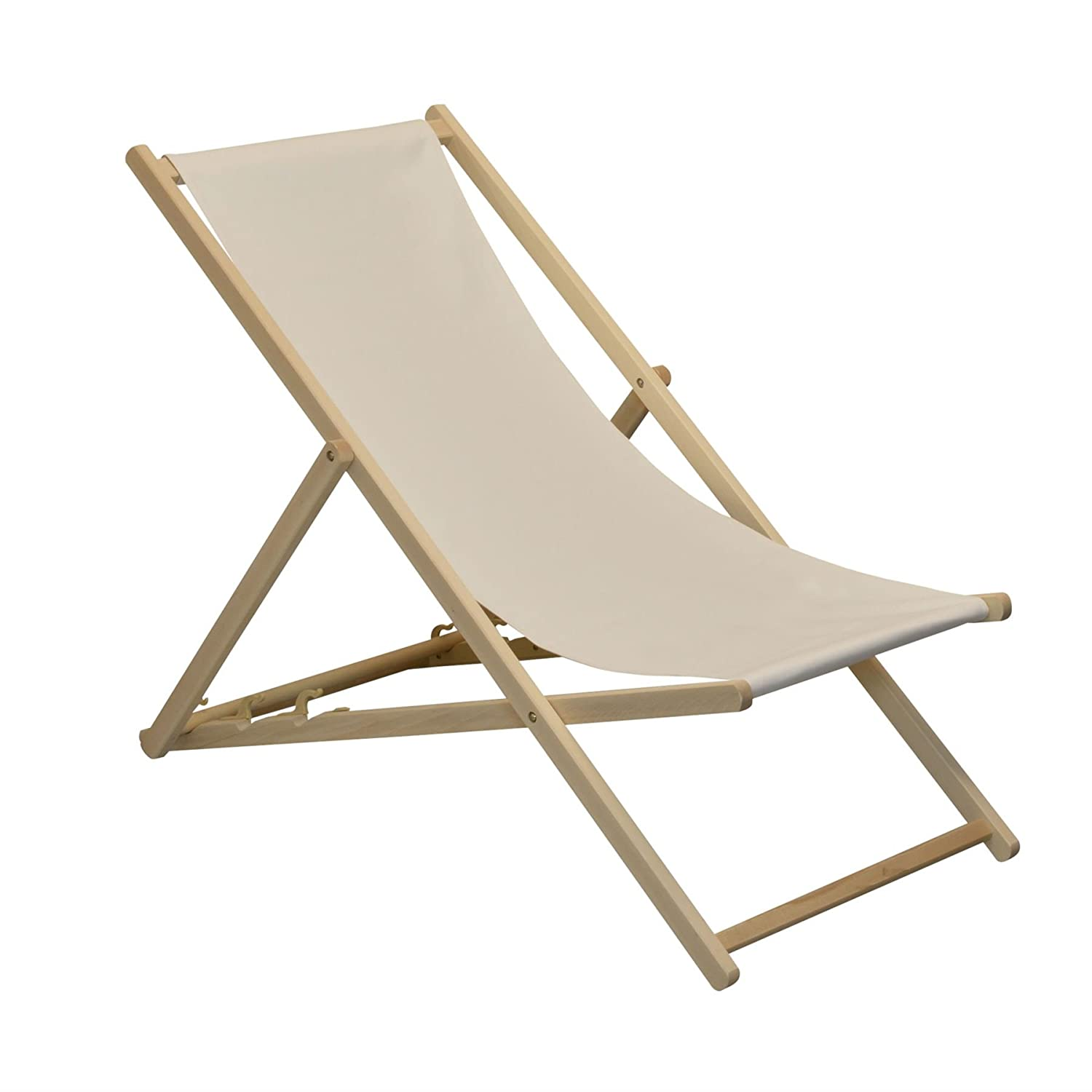 Traditional Adjustable Garden / Beach-style Deck Chair - Cream Harbour Housewares