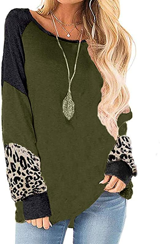Women Striped Print Shirts Casual Round-Neck Patchwork Long Sleeve Pullover Tops