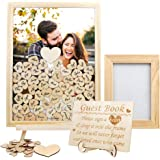 Aytai Wedding Guest Book Alternative, Wooden Picture Frame Drop Top Frame Guest Book with 80 Blank Hearts, Wooden Frame for A