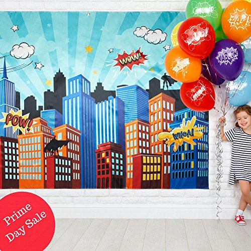 PRlME Day Special - Superhero Party Supplies Pinata Props Backdrop - DC Super Hero Girls and Boys Birthday Decorations Favors - 6.2' x 4.8' Cityscape Photography Party City & Bonus 20 (Happy Pinata Feet)