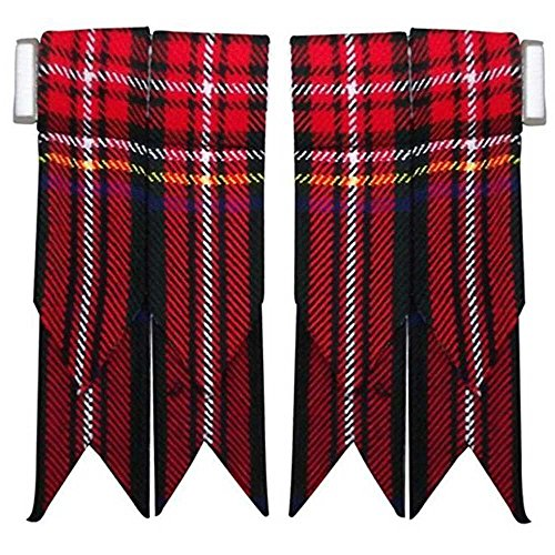 (Scottish kilt Hose Sock Flashes Various Tartans Garter Pointed Acrylic Wool/Highland Kilts Flashes (Black Stewart Tartan))