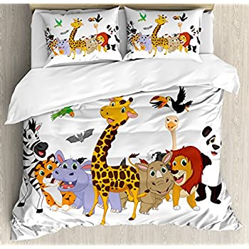 Image of Ambesonne Animals Duvet Cover Set, Colorful Jungle Animals Hippo Bat Parrot Giraffe Panda Safari Theme African, Decorative 3 Piece Bedding Set with 2 Pillow Shams, Queen Size, Pale Orange Home and Kitchen